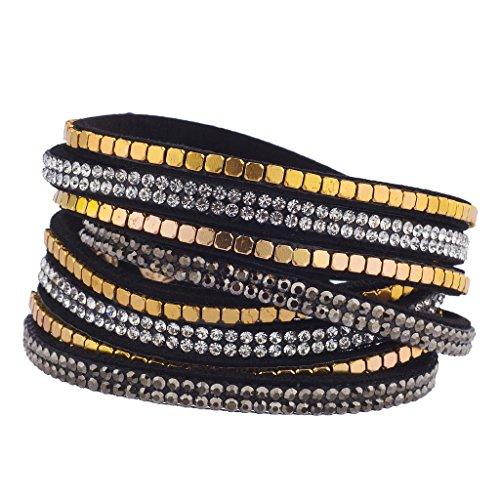 Animal Black Bracelet - Lux Accessories Black goldtone gem Crystal Sticker Stone Suede Wrap Bracelet