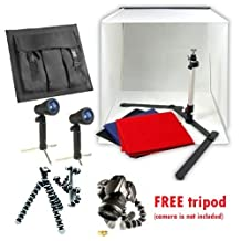 """CanadianStudio STUDIO IN A BOX PHOTO LIGHTING PHOTOGRAPHY SET Continuous Light Kit 2 lights, 16"""" light tent with 4 pcs backdrops, Camera stand"""