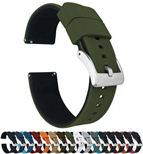 Bracelet Elite Watch Mens - Barton Elite Silicone Watch Bands - Quick Release - Choose Strap Color & Width - Army Green/Black 22mm