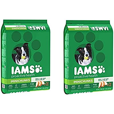 IAMS PROACTIVE HEALTH Adult MiniChunks Dry Dog Food, UDbSGL 2Pack (15lbs)