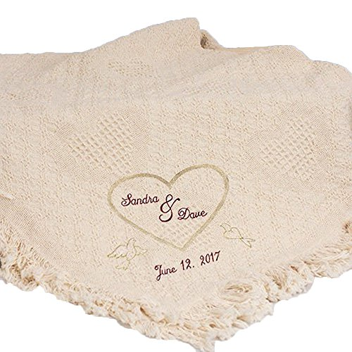 GiftsForYouNow Wedding Heart Embroidered Afghan, 100% Cotton, 36