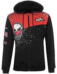 Mens Hoody Zip Hoodie Hooded Top Lightweight Full Print Drawstring All Black/Red XX-Large