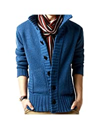 Elonglin Mens Casual Cable Knit Cardigan Sweater Stand Collar