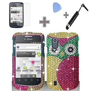 Full Diamond Green Yellow OWL Green Eyes Snap on Hard Case Skin Cover Faceplate with Screen Protector, Case Opener and Stylus Pen for ZTE Concord / V768 / T-Mobile