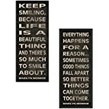 WallsThatSpeak Marilyn Monroe Quotes Celebrity Art Prints Posters, Black, 6 by 18-Inch, Set of 2