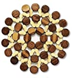 8pcs Handcrafted Natural Bamboo Wood Coasters Place Mats, Large 8.3inch (21cm) ea