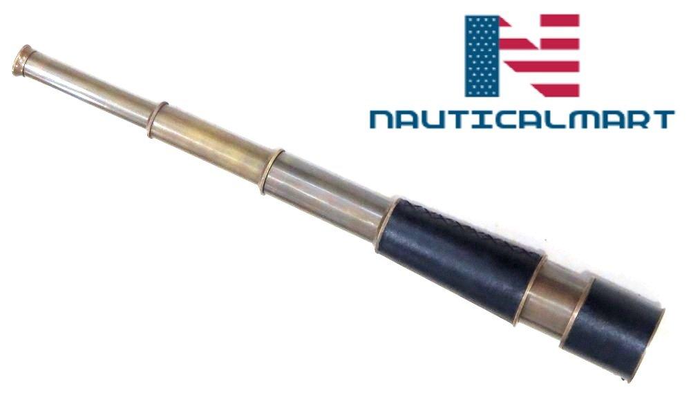 NAUTICALMART 18'' Handheld Brass Telescope Spyglass Monocular Collapsible by NauticalMart