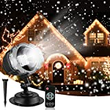 Christmas Snowfall Projector Lights, Syslux Indoor Outdoor Holiday Lights with Remote Control Rotatable White Snow for Halloween Xmas Wedding Home Party Garden Landscape Wall Decorations (Snow Spots)