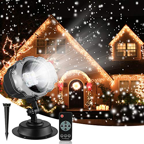 Christmas Snowfall Projector Lights, Syslux Indoor Outdoor Holiday Lights with Remote Control Rotatable White Snow for Halloween Xmas Wedding Home Party Garden Landscape Wall Decorations (Snow Spots) (Best Xmas Light Projector)