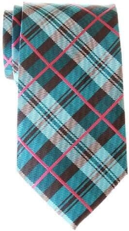 Retreez Men's Delicate Tartan Check Woven Microfiber Tie