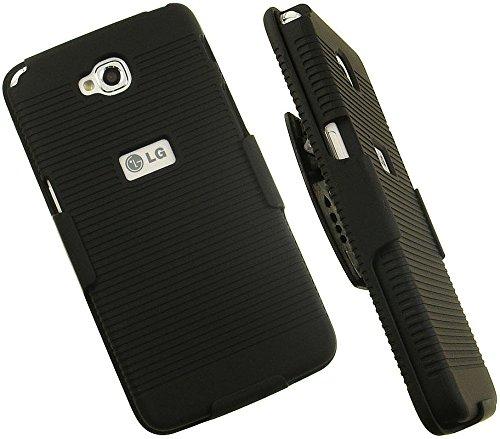 NAKEDCELLPHONE Black Rubberized Hard CASE + Belt Clip Holster Stand for LG G PRO LITE Phone (D680, D682, D684, D686, Unlocked)