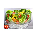 "Prodyne SB-10 Flip Salad On Ice Bowl with Lid Set 10"" Clear"