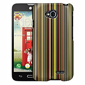 LG Optimus Exceed 2 Case, Slim Fit Snap On Cover by Trek Colorized Vertical Bars on Black Case
