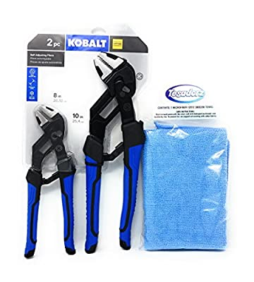 Kobalt 2 Piece 8 and 10 Inch Self Adjusting Pliers Set with Tesadorz Microfiber Towel
