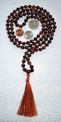 Eye Amulet Tiger (8 MM TIGER EYE TIGEREYE RED BROWN PRAYER BEADS HAND KNOTTED JAPA MALA NECKLACE. KARMA 108+1 BEADS. BLESSED & ENERGIZED HINDU TIBETAN BUDDHIST PRAYER KARMA BEADS SUBHA ROSARY MALA FOR NIRVANA, BHAKTI, FOR REMOVING INNER DOSHAS, FOR CHANTING AUM OM, FOR AWAKENING CHAKRAS, KUNDALINI THROUGH YOGA MEDITATION-FREE OM MALA POUCH INCLUDED - USA SELLER)