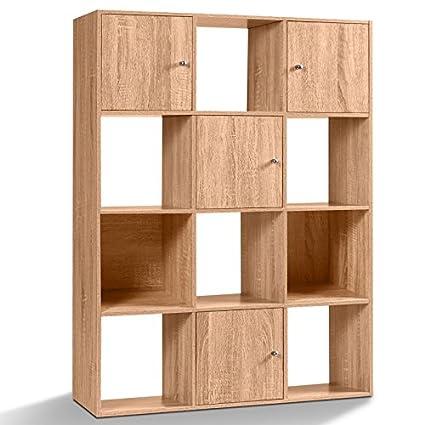 Meuble De Rangement 12 Cases.Idmarket Meuble De Rangement Cube 12 Cases Bois Facon Hetre Avec 3 Portes