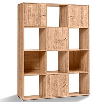 Idmarket Meuble De Rangement Cube 12 Cases Bois Facon Hetre Avec 3