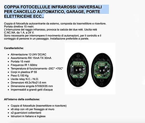 Pareja Universal de Fotocélulas Infrarrojos para Puerta Garaje Automática 12V / 24V AC/DC Relay N.C. / N.O.: Amazon.es: Bricolaje y herramientas