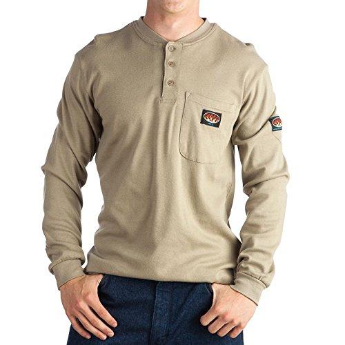 (Rasco FR Khaki Henley T-Shirt 100% Preshrunk Cotton NFPA 2112 3XL)