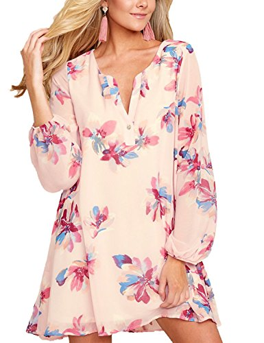 al Floral Leaves Print Long Sleeve V Neck Flowy Tunic Shirt Dress Size X-Large (Fits US 16 - US 18) ()