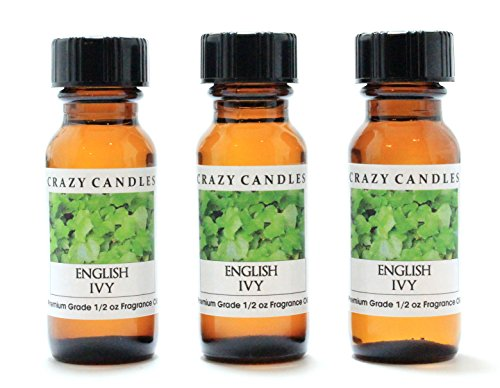 English Ivy 3 Bottles 1/2 Fl Oz Each (15ml) Premium Grade Scented Fragrance Oil By Crazy Candles (Floral Herbal Blend Aroma)