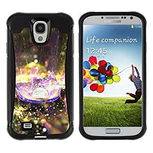 Pulsar iFace Series Tpu silicona Carcasa Funda Case para Samsung Galaxy S4 IV I9500 , Planète Goutte Purple Rain Nature