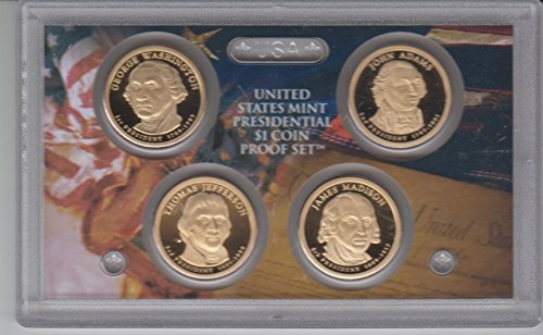 Coin 2007 4 Dollar Presidential (2007 Birth Year Presidential $1 Coin Proof Set (4) Proof Dollar Coins - The First Four Presidents of the United States Proof- Choice Brilliant Uncirculated)