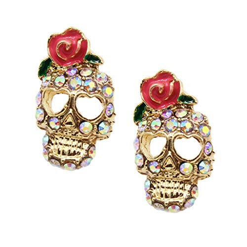 Fashion Women Girls Crystal Rose Flower on Skull Ear Stud Earrings Jewelry Necklace Jewelry Crafting Key Chain Bracelet Pendants Accessories Best