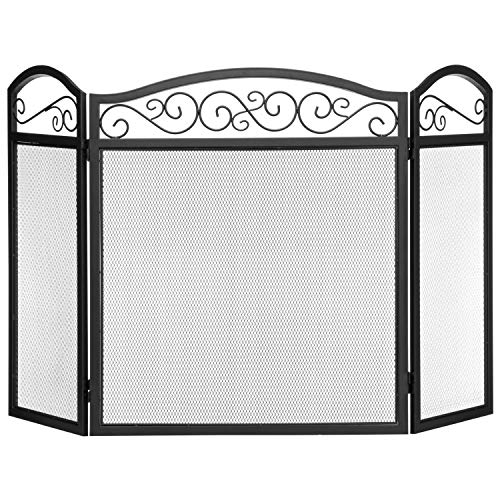 MyGift Black Wrought Iron Scrollwork 3-Panel Mesh Fireplace Screen ()