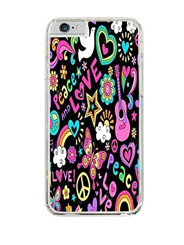 Psychedlic Peace & Love Design Clear Hardshell Case for iPhone 6 (4.7)
