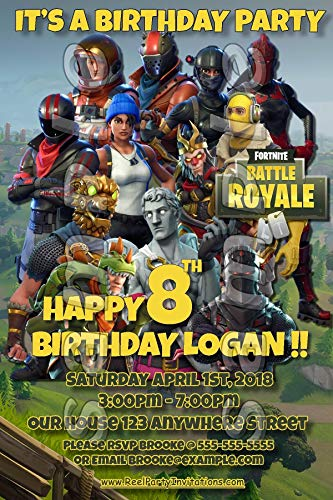 Fortnite 4x6 printed birthday party invitations with envelopes #1 (Invitations Party Handmade)