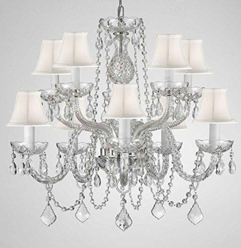CRYSTAL CHANDELIER CHANDELIERS LIGHTING WITH WHITE SHADES H 25