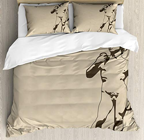 (Lunarable Sculpture Duvet Cover Set King Size, Nude Anatomy Human Man Athlete Carving Marble Renaissance Greek, Decorative 3 Piece Bedding Set with 2 Pillow Shams, Pale Sepia and Charcoal Grey)
