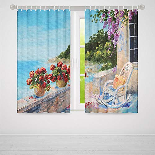 (TecBillion Windows Blackout Curtain,Seascape,Living Room Bedroom Décor,Sea View Balcony with Cosy Rocking Chair Flowers in Summer Sky Oil Painting Style,66Wx65L Inches)