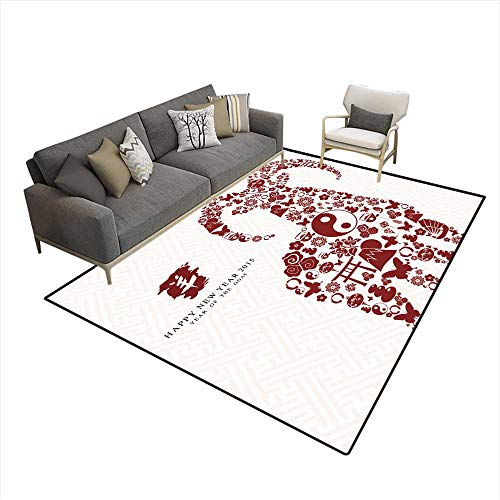 Kids Carpet Playmat Rug Happy Chinese New Year of The Goat Card (Card Topiary)