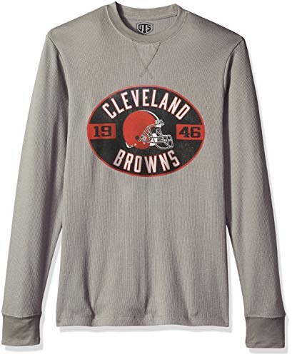 NFL Cleveland Browns Male NFL OTS long-sleeve Waffle Distressed, Wolf Grey, Medium -