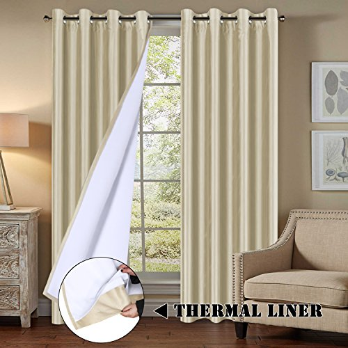 Silk Faux Panel Window (H.VERSAILTEX Faux Silk Blackout Curtains for Bedroom Living Room Energy Saving Thermal Insulated Window Panels with Liner Backing 2 Panels for Patio Door, Solid Beige, 52x96 - Inch)