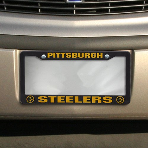 Pittsburgh Steelers Official NFL 12 inch x 6 inch Plastic License Plate Frame by Rico Industries (License Steelers Plate)