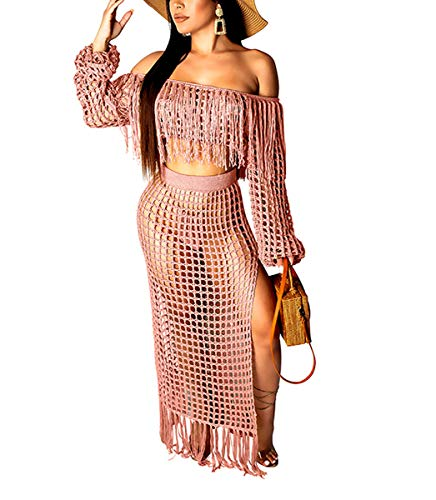 Womens Sexy Maxi Midi Dress - Off Shoulder Fringe Lace Top + Split Sheer Mesh Swing Skirts Set Pink#2 S