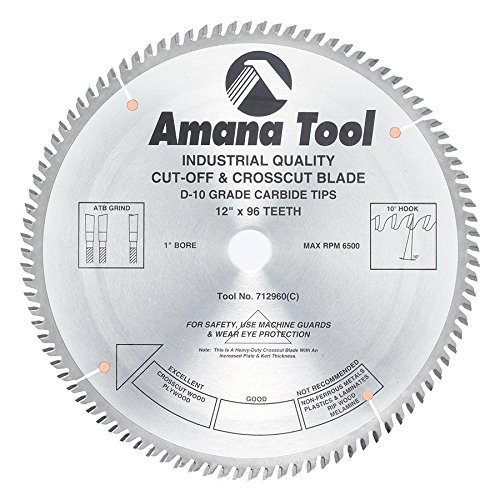 Amana Tool 712960 Carbide Tipped Heavy Duty Cut-Off and Crosscut 12 Inch D x 96T ATB, 10 Deg, 1 Inch Bore, Circular Saw (96t Cross)
