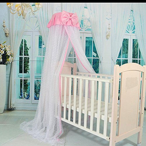 RuiHome Dome Style Hanging Baby Mosquito Net Princess Girls Bed Canopy with Pink Bowknot Decor, Netting with Bracket by RuiHome (Image #2)