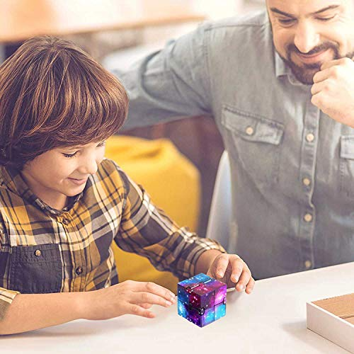 Infinity Cube Fidget Toy, Finger Fidget Toys for Kids and Adults, Fidget Blocks for Stress Relieving, Killing Time Fidget Cube for OCD/ADD/ADHD (Galaxy Space) Eoqiza