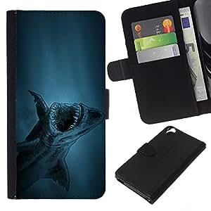 JackGot ( squalo Akula ryba pesce ) HTC Desire 820 la tarjeta de Crédito Slots PU Funda de cuero Monedero caso cubierta de piel