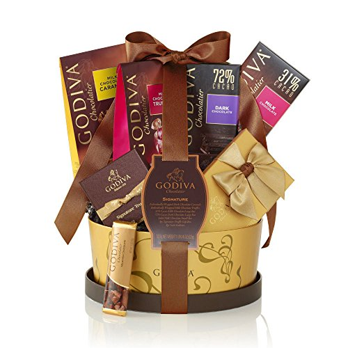 Godiva Chocolatier Signature Chocolate Gift Basket with Classic Ribbon, 7 Count