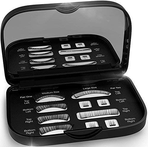 Magnetic False Eyelashes [FREE MIRROR] Full Eye Kit - Natural Length Magnet Lashes - Dual Magnets - Fake Lashes Set - [Medium/Large] (Black) by Nylea