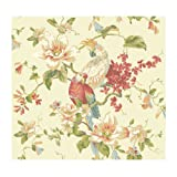 York Wallcoverings AK7460 Ashford House Blooms Tropical Birds With Magnolias, Beiges