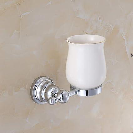 SMQ Portavasos Lavadero Taza de cepillos Portavasos Alta Calidad Cromo Baño Individual Portavasos Accesorios de baño