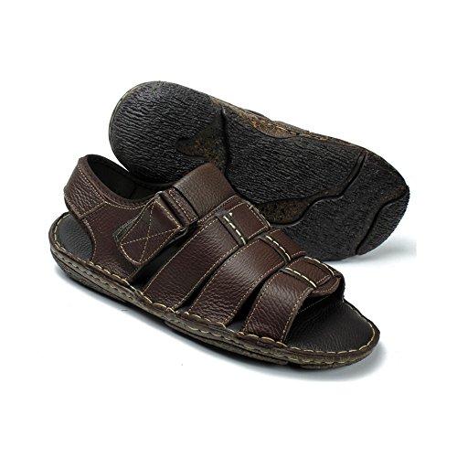 Labo Heren Lederen Sandalen Schoenen Ultra Comfort Zacht Breed Bruin
