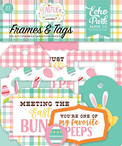 Echo Park Paper Company Easter Wishes Frames & Tags Ephemera Pink, Yellow, Teal, Green, Brown, Orange ()