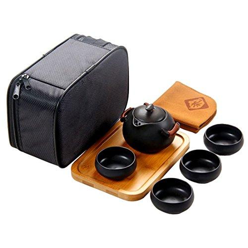 Tea Talent Chinese & Japanese Portable Travel Kungfu Tea Set - Porcelain Teapot & Teacups & Bamboo Tea Tray & Tea Towel with Handbag, - Glasses Chooser